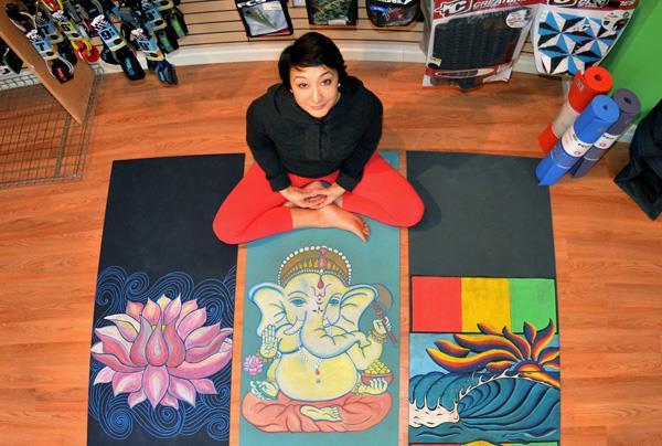 carolyn pereira hand painted yoga mats