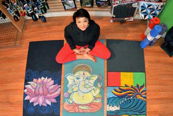 carolyn pereira hand painted yoga mats